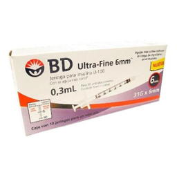 Jeringa Bd Ultra Fine Para Insulina 100 U 0.3 mL 31g x 6 mm
