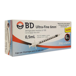 Jeringa Para Insulina Bd Ultra Fine 6 mm U 100 31 g 0.5 mL