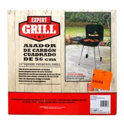 Asador De Carbón Expert Grill Cuadrado 56 Cm Negro
