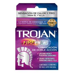 Condón Trojan Fire & Ice Lubricante De Doble Acción 3 U