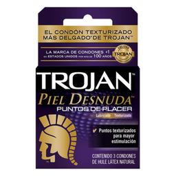 Condón Trojan Piel Desnuda Puntos De Placer 3 U