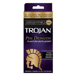 Condón Trojan Piel Desnuda Puntos De Placer 9 U