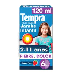 Jarabe Infantil Tempra Fiebre Y Dolor Sabor Fresa 120Ml