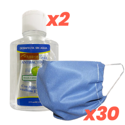 Kit de 30 Cubrebocas+2 botellas Gel Antibacterial (70% alcohol)