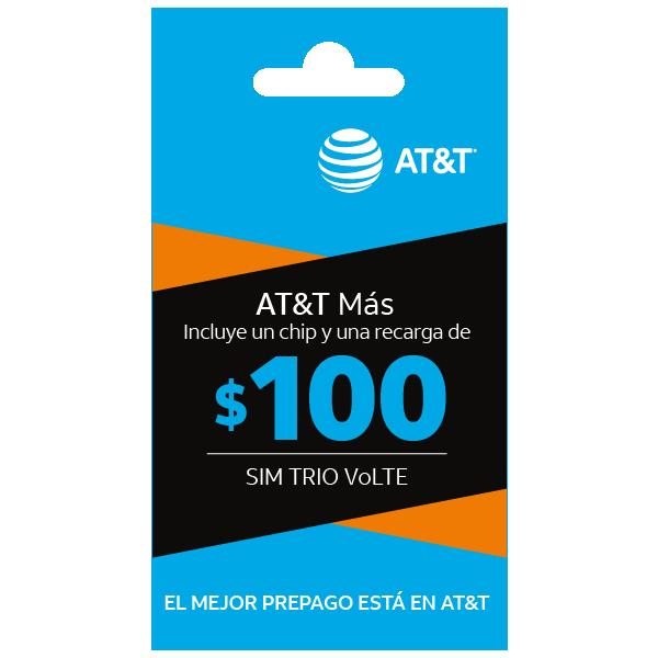 SIM con beneficios ATT Más $100