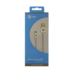 Cable Micro USB 2M Color Blanco Marca AT&T