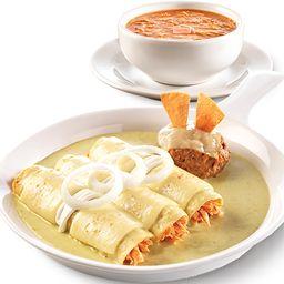 Enchiladas Suizas y Sopa