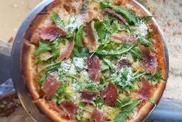 Pizza de Jamón, Serrano y Arugula