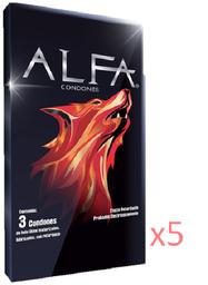 5 Cajas - Condón Texturizado con Retardante Alfa