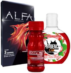 Condones texturizados + gel lubricante + shot Simiact
