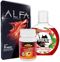Condones texturizados + gel lubricante + Simipower plus