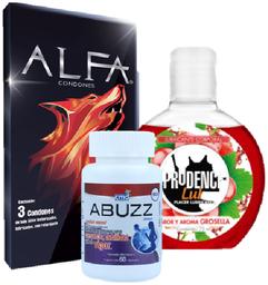 Condones texturizados + gel lubricante + Maca 60 cap
