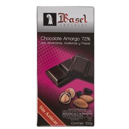 Chocolate Basel Amargo 72% Con Almendras Avellanas y Pasas 100 g