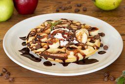 Waffles con Plátano y Chocolate