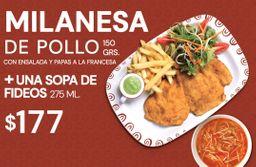 Milanesa de Pollo + Sopa de Fideos