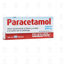 Paracetamol 500mg Caja con  10 Tabletas