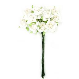 Ramito X12 Flores de Papel 10 cm Blanco