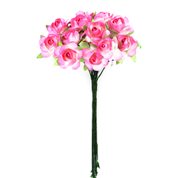 Ramito X12 Flores de Papel 10 cm Rosa Claro