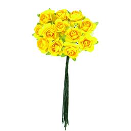 Ramito X12 Flores de Papel 10 cm Amarillo