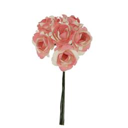 Ramito X6 Flores de Papel 12 cm Rosa Claro