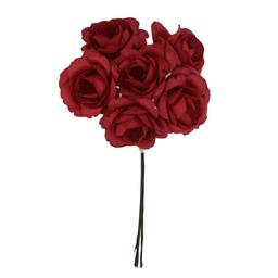 Ramito X6 Flores de Papel 12 cm Rojo