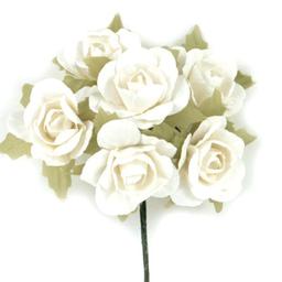 Ramito X6 Flores de Papel 10 cm Blanco