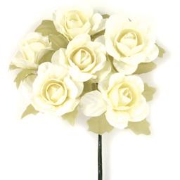 Ramito X6 Flores de Papel 10 cm Crema