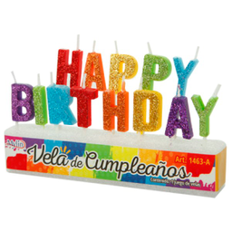 Velas Happy Birthday Y Feliz Cumpleaños 7 cm paquete A