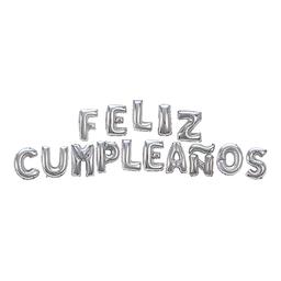 Globo Letras Feliz Cumpleaños 40.6 cm Plata
