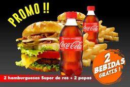 PROMO 2 Hamburguesas Súper de Res + 2 Papas + ¡2 Bebidas Gratis!