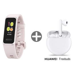 Paquete Huawei Banda Rosa Con Audifonos Freebuds 3 Blanco
