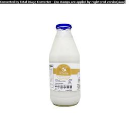Leche Entera De Vaca La Ordeña En Botella De Vidrio 1 L