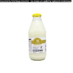 Leche Descremada De Vaca La Ordeña En Botella De Vidrio 1 L