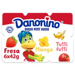 Queso Petit Suisse Danonino Fresa Mango y Tutti Frutti