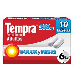Tempra Reckitt Benckiser 10 Tableta(S) Caja Paracetamol 500 Mg