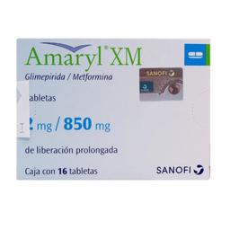 Amaryl Xm 16 Tabletas Caja glimepirida 4 mg Metformina 850 mg