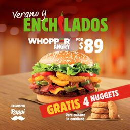 Whopper Angry + 4 Nuggets GRATIS