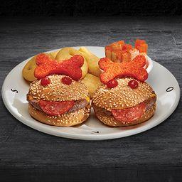 Cangreburgers con papas emoticon o papas fritas