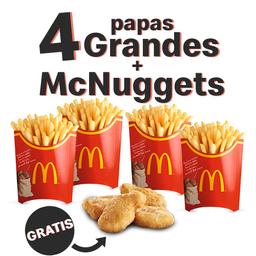 4 Papas Grandes con McNuggets GRATIS