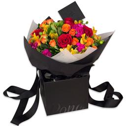 Ponch & Caprico Bouquet Mini Rosas Clavellinas y Alstromelias