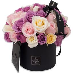 Ponch & Caprico Arreglo Domo Rosas Lila Rosadas y Crema en Caja