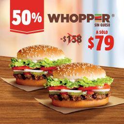 50% Off 2 Whopper por $79
