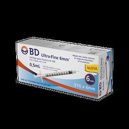 BD Ultra-Fine Jeringa Para Insulina 0.5 mL 31 g 6 mm