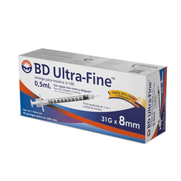 BD Ultra-Fine Jeringa Para Insulina 0.5 mL 31 g 8 mm