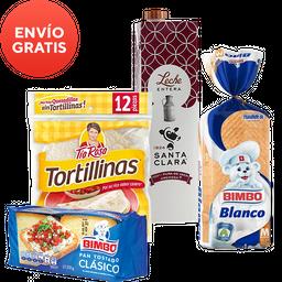 Rappicombo leche + pan blanco + tortillinas + pan tostado
