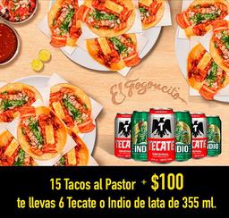 15 Tacos de pastor + 6 Cervezas