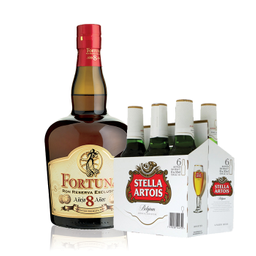 Combo Ron Fortuna 8 Años +  Cerveza Stella Artois
