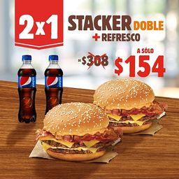 2 x 1  Stacker King 2 Carnes más Refresco
