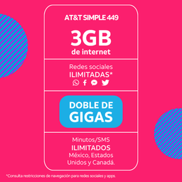 AT&T Paquete 3Gb+3Gb x 24 Meses