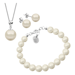 Swarovski Set de Collar Pulsera y Aretes de Perlas Zvezda Blanco